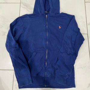 Blue polo zip up hoodie